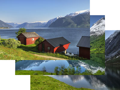 Bildschirmschoner, Screen Saver, <TXTDE>Fjordland&shy;schaften in S&uuml;dnorwegen</TXTDE><TXTEN>Fiord Landscapes in Southern Norway</TXTEN>